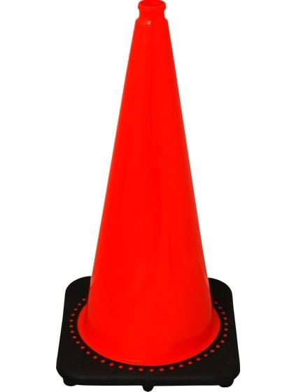 "Orange 28"" 7.0 Lb. Traffic Cone with Black Base"