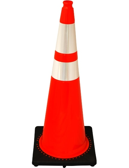 "Orange 36"" 10.0 Lb. Traffic Cone with Black Base"