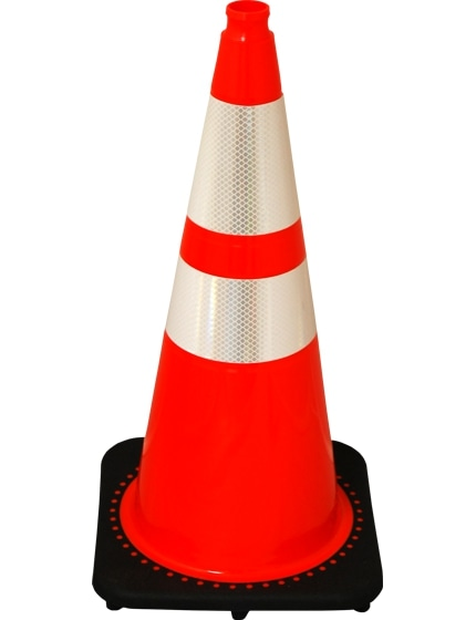 "Orange 28"" 7.0 Lb. Traffic Cone with Black Base"