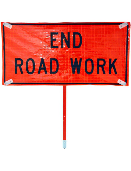 Heavy Duty END ROAD WORK Roll-Up Sign