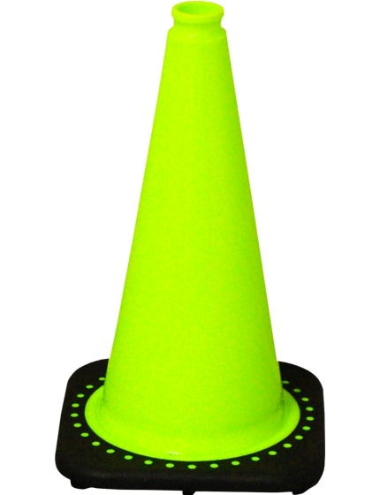 """Lime 18"""" Traffic Cone with Black Base image"""