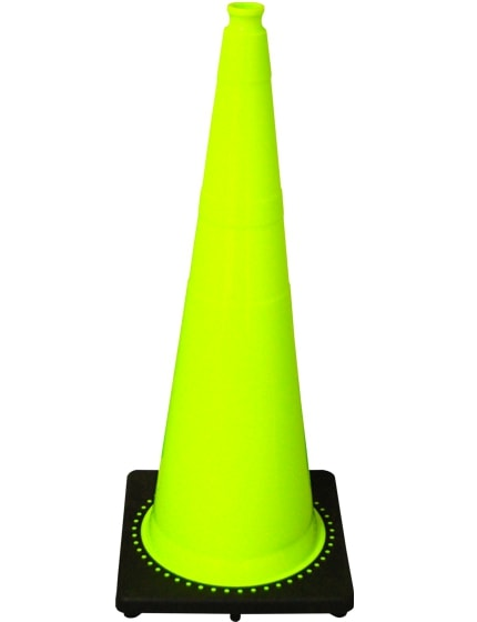 """Lime 36"""" 10 Lb. Traffic Cone with Black Base image"""