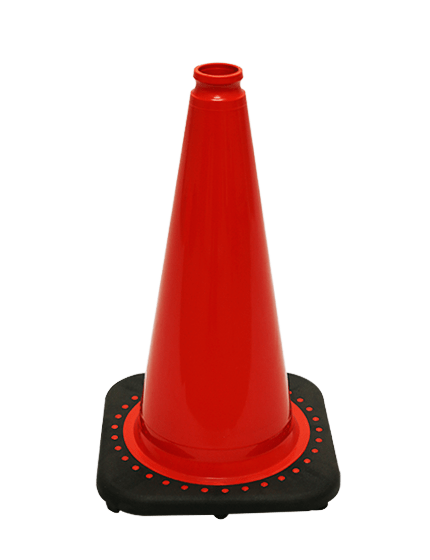 """Red 18"""" Traffic Cone with Black Base image"""