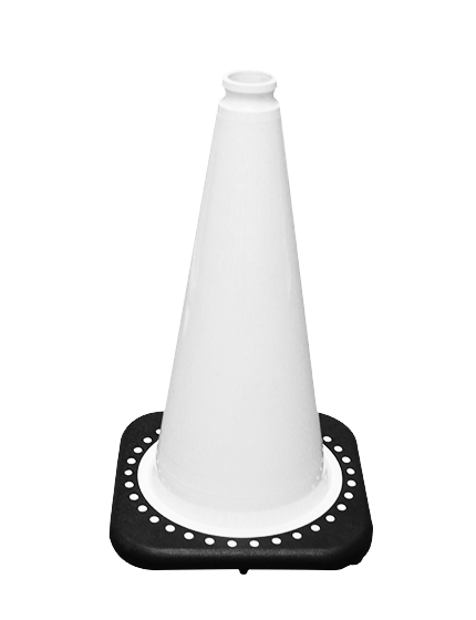 """White 18"""" Traffic Cone with Black Base image"""