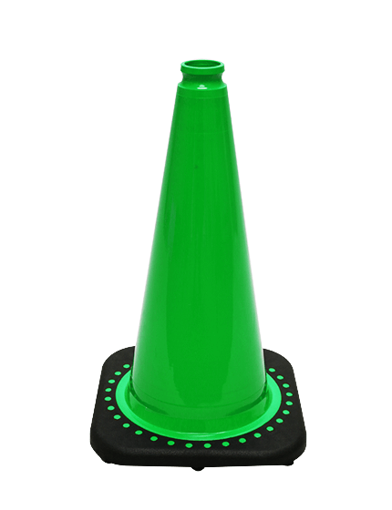 "Green 18"" Traffic Cone with Bl"