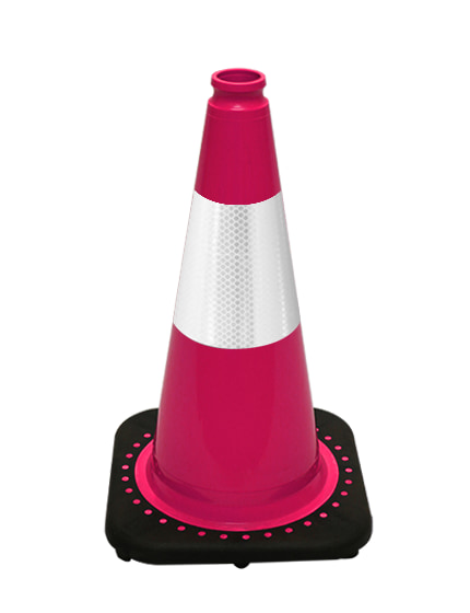 "Pink 18"" Traffic Cone with Bla"