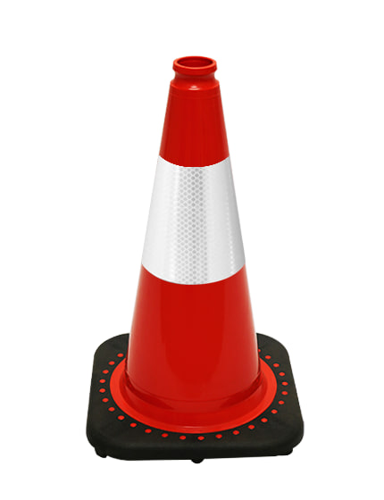 "Red 18"" Traffic Cone with Blac"
