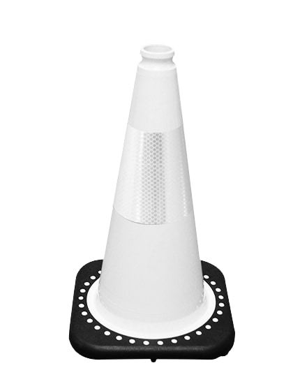 "White 18"" Traffic Cone with Bl"